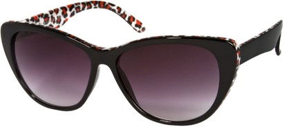Angle of SW Oversized Cat Eye Style #9084 in Black/Red Mini Leopard Print Frame, Women's and Men's