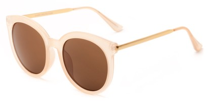 Angle of Canary #6583 in Peach/Gold Frame with Amber Lenses, Women's Cat Eye Sunglasses