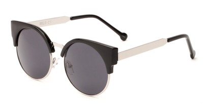 Angle of Ivy #6608 in Glossy Black/Silver Frame with Grey Lenses, Women's Cat Eye Sunglasses