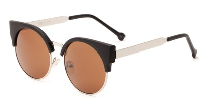 Angle of Ivy #6608 in Matte Black/Silver Frame with Amber Lenses, Women's Cat Eye Sunglasses