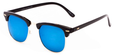 Angle of Nebula #6614 in Black Frame with Blue Mirrored Lenses, Women's and Men's Browline Sunglasses