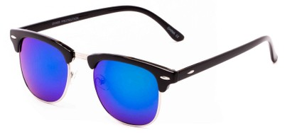 Angle of Nebula #6614 in Black Frame with Blue/Green Mirrored Lenses, Women's and Men's Browline Sunglasses