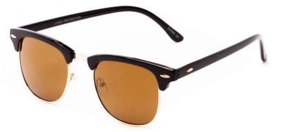 Angle of Nebula #6614 in Black Frame with Brown Lenses, Women's and Men's Browline Sunglasses