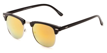 Angle of Nebula #6614 in Black Frame with Orange Mirrored Lenses, Women's and Men's Browline Sunglasses