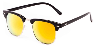 Angle of Nebula #6614 in Black Frame with Yellow Lenses, Women's and Men's Browline Sunglasses