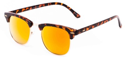 Angle of Nebula #6614 in Tortoise Frame with Orange Mirrored Lenses, Women's and Men's Browline Sunglasses