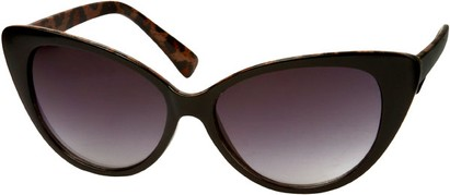 Angle of Catalina #9122 in Black Frame with Leopard Inside, Women's Cat Eye Sunglasses