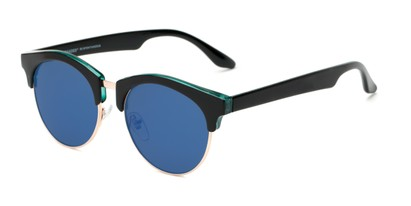 Angle of Reed #6683 in Glossy Black Frame with Blue Mirrored Lenses, Women's and Men's Browline Sunglasses
