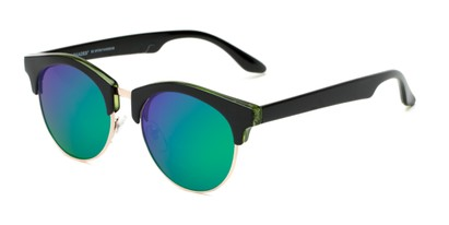 Angle of Reed #6683 in Glossy Black Frame with Green/Purple Mirrored Lenses, Women's and Men's Browline Sunglasses