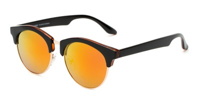 Angle of Reed #6683 in Glossy Black Frame with Orange/Yellow Mirrored Lenses, Women's and Men's Browline Sunglasses