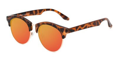 Angle of Reed #6683 in Matte Tortoise Frame with Orange/Yellow Mirrored Lenses, Women's and Men's Browline Sunglasses