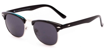 Angle of Huntington #6694 in Black/Blue Frame with Grey Lenses, Women's and Men's Browline Sunglasses