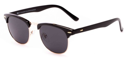Angle of Huntington #6694 in Black/Gold Frame with Grey Lenses, Women's and Men's Browline Sunglasses