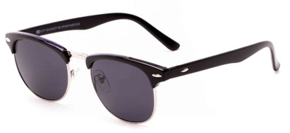 Angle of Huntington #6694 in Black/Purple Frame with Grey Lenses, Women's and Men's Browline Sunglasses