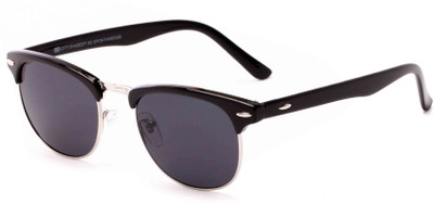 Angle of Huntington #6694 in Black/Silver Frame with Grey Lenses, Women's and Men's Browline Sunglasses