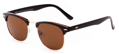 Angle of Huntington #6694 in Brown/Gold Frame with Brown Lenses, Women's and Men's Browline Sunglasses