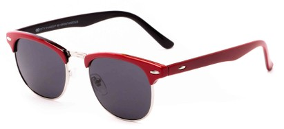 Angle of Huntington #6694 in Red/Silver Frame with Grey Lenses, Women's and Men's Browline Sunglasses