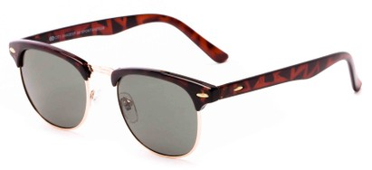 Angle of Huntington #6694 in Tortoise/Gold Frame with Green Lenses, Women's and Men's Browline Sunglasses
