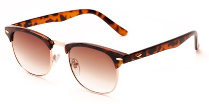 Angle of Huntington #6694 in Tortoise/Gold Frame with Amber Lenses, Women's and Men's Browline Sunglasses