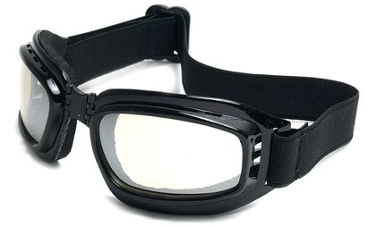 Angle of SW Folding Goggle Style #66 in Glossy Black Frame with Mirrored Lenses, Women's and Men's