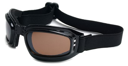 Angle of SW Folding Goggle Style #66 in Glossy Black Frame with Amber Lenses, Women's and Men's