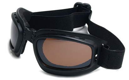 Angle of SW Folding Goggle Style #66 in Matte Black Frame with Amber Lenses, Women's and Men's