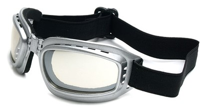 Angle of SW Folding Goggle Style #66 in Silver Frame with Mirrored Lenses, Women's and Men's