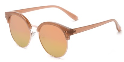 Angle of Carnival #6706 in Brown/Gold Frame with Yellow/Pink Mirrored Lenses, Women's and Men's Browline Sunglasses