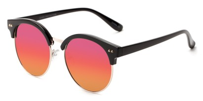 Angle of Carnival #6706 in Black/Gold Frame with Red Mirrored Lenses, Women's and Men's Browline Sunglasses
