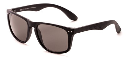 Angle of Bongo #6713 in Matte Black Frame with Grey Lenses, Women's and Men's Retro Square Sunglasses