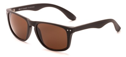 Angle of Bongo #6713 in Matte Brown Frame with Amber Lenses, Women's and Men's Retro Square Sunglasses