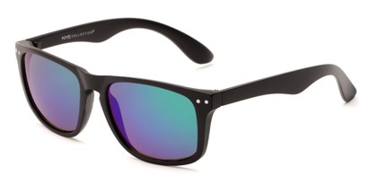 Angle of Beachcomber #6714 in Black Frame with Green/Purple Mirrored Lenses, Women's and Men's Retro Square Sunglasses