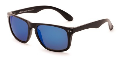 Angle of Beachcomber #6714 in Black Frame with Blue Mirrored Lenses, Women's and Men's Retro Square Sunglasses