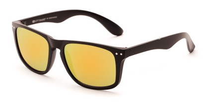 Angle of Beachcomber #6714 in Black Frame with Yellow Mirrored Lenses, Women's and Men's Retro Square Sunglasses