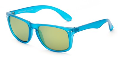 Angle of Beachcomber #6714 in Blue Frame with Yellow Mirrored Lenses, Women's and Men's Retro Square Sunglasses