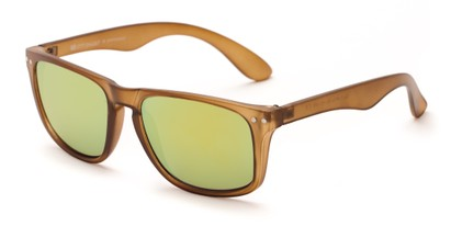 Angle of Beachcomber #6714 in Brown Frame with Yellow Mirrored Lenses, Women's and Men's Retro Square Sunglasses