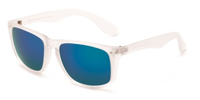 Angle of Beachcomber #6714 in Clear Frame with Blue Mirrored Lenses, Women's and Men's Retro Square Sunglasses