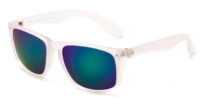 Angle of Beachcomber #6714 in Clear Frame with Blue/Green Mirrored Lenses, Women's and Men's Retro Square Sunglasses