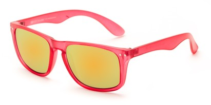 Angle of Beachcomber #6714 in Pink Frame with Yellow Mirrored Lenses, Women's and Men's Retro Square Sunglasses