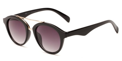 Angle of Kearny #6749 in Glossy Black/Gold Frame with Smoke Lenses, Women's and Men's Round Sunglasses