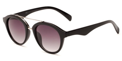 Angle of Kearny #6749 in Glossy Black/Silver Frame with Smoke Lenses, Women's and Men's Round Sunglasses