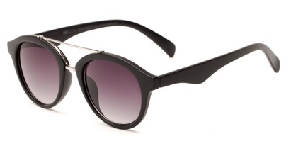 Angle of Kearny #6749 in Matte Black/Silver Frame with Smoke Lenses, Women's and Men's Round Sunglasses