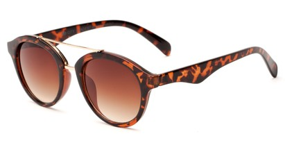 Angle of Kearny #6749 in Glossy Tortoise/Gold Frame with Amber Lenses, Women's and Men's Round Sunglasses
