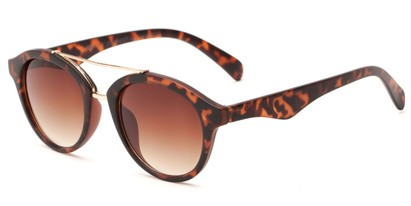 Angle of Kearny #6749 in Matte Tortoise/Gold Frame with Amber Lenses, Women's and Men's Round Sunglasses
