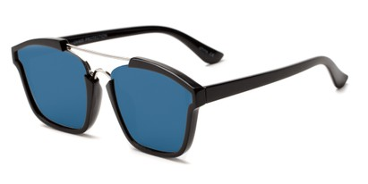 Angle of Hart #6755 in Black/Grey Frame with Blue Mirrored Lenses, Women's and Men's Aviator Sunglasses