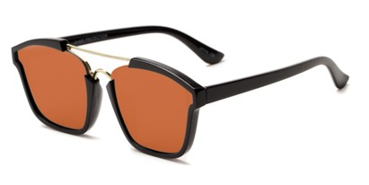 Angle of Hart #6755 in Black/Gold Frame with Red Mirrored Lenses, Women's and Men's Aviator Sunglasses