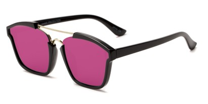 Angle of Hart #6755 in Black/Gold Frame with Pink Mirrored Lenses, Women's and Men's Aviator Sunglasses