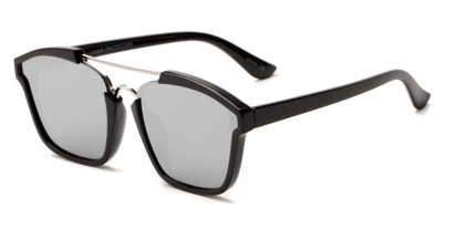 Angle of Hart #6755 in Black/Silver Frame with Silver Mirrored Lenses, Women's and Men's Aviator Sunglasses