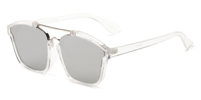 Angle of Hart #6755 in Clear/Silver Frame with Silver Mirrored Lenses, Women's and Men's Aviator Sunglasses