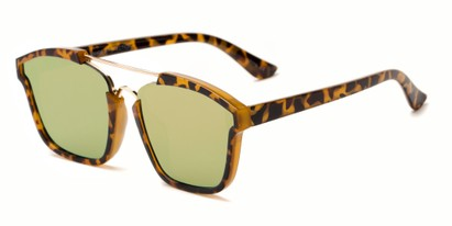 Angle of Hart #6755 in Tortoise/Gold Frame with Yellow Mirrored Lenses, Women's and Men's Aviator Sunglasses